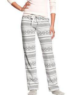 Women's Micro Performance Fleece Sleep Pants | Old Navy - grey fair isle - s