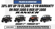 Through the end of February, Texas Farmers can now take advantage of this limited time program on the new Polaris Ranger 1000 and Ranger XP 1000 (includes crews). This is the strongest promotion yet on this class leading UTV #Polaris #WoodsCycleCountry #PolarisRanger #AgAdvantage