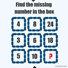 Brain teaser - Number And Math Puzzle - find the missing number in the box. Read the picture row by row. It's not that hard. Math Logic Puzzles, Number Puzzles, Math Numbers, Jigsaw Puzzles, Fun Math, Math Games, Puzzle Games, Brain Teasers Riddles, Brain Teaser Games