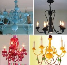 Armed with only a roll of painters tape and a can of spray paint, the DIY home projects are endless. Check out a few of my favorite, very creative uses for spray paint. Did you know that you could spray paint Runway to Remodel: Nautical Strip Spray Painted Chandelier, Old Chandelier, Vintage Chandelier, Painting Chandeliers, Chandelier Ideas, Orange Chandeliers, Chandelier Makeover, Spray Paint Projects, Diy Spray Paint