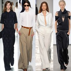 Trousers go large Let legs breathe with a welcome respite from figure-hugging skinnies as generously-proportioned trousers make for an elegant alternative From left: Mulberry, Michael Kors, Paul Smith, Derek Lam