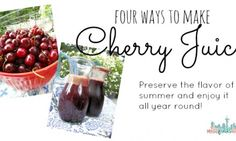 How to Make Cherry Juice - 4 Easy Methods to Choose From - by hand, blender, food processor, or juicer using fresh or frozen berries plus a smoothie recipe Dehydrated Strawberries, Dehydrated Food, Frozen Cherries, Sweet Cherries, Freezer Cooking, No Cook Meals, Smoothie Recipes, Smoothies, Drink Recipes