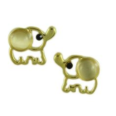 FE509-Cats Eye Elephant Pierced Earring