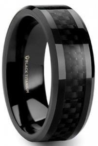 Brilliant Bijou Titanium Black Ti Polished Concave 9mm Band