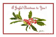 A simple painting of red holly berries with green leaves on a white background. Has an old fashioned charm to it. Single Card- $4.95 Pack of 10- $29.50 Pack of 25 Cards- $50.00