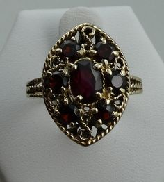 Stunning Vintage 14k Yellow Gold Ring Set With Bohemian Red Garnets