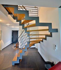 Stahltreppe 08 | Treppenbau Becker Interior Architecture, Interior Design, House Stairs, Staircase Design, Stairways, Space Saving, Ideas, Home Decor, Style