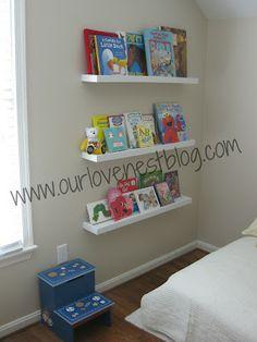 Our love nest: diy wall hung bookshelf & reading corner Hanging Bookshelves, Bookshelves Kids, Wall Shelves, Book Shelves, Bookshelf Ideas, Shelving Ideas, Reading Corner Kids, Reading Corners, Reading Nooks