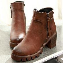 { D и T } женщины ретро PU почтовый круглый носок квадратный каблук зима мода ботильоны теплые плюшевые обувь женщина(China (Mainland))