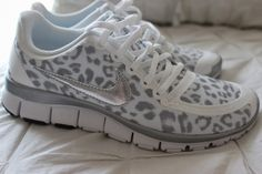 running shoes, white nikes, leopard