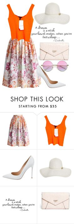 """""""Summers"""" by mareehamasood246 on Polyvore featuring Chicwish, ESCADA, Gianvito Rossi, Melissa Odabash, GUESS and Floralskirts"""