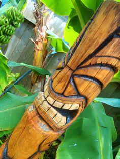 Tiki with tropical banana trees