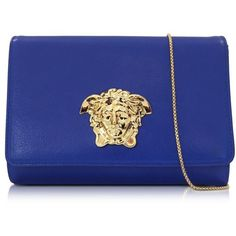Versace Palazzo Royal Blue Leather Crossbody (€770) ❤ liked on Polyvore featuring bags, handbags, shoulder bags, leather crossbody, leather handbags, chain shoulder bag, leather purse and leather crossbody handbags