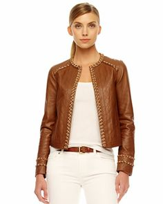 MICHAEL Michael Kors  Chain-Trim Leather Jacket. $795