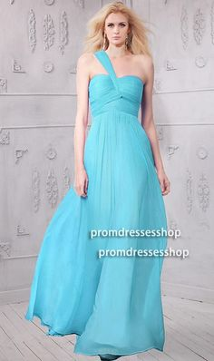 Simple One Shoulder Long Turquoise Chiffon Flowing Bridesmaid Prom Dress Prom Dresses Long Modest, Strapless Prom Dresses, Prom Dresses For Sale, Formal Dresses, Turquoise Prom Dresses, Prom Dresses Blue, Dress Images, Green Dress, Evening Gowns