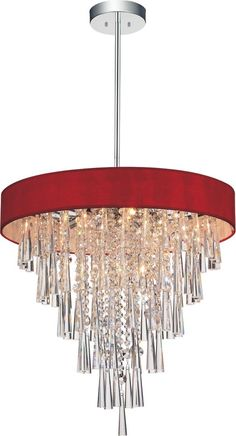 Franca 22 inch 8 Light Chandelier with Chrome Finish and Red Lighting Showroom, Chrome Finish, Chandelier Lighting, Canopy, Sconces, Bulb, Ceiling Lights, Crystals, Unique