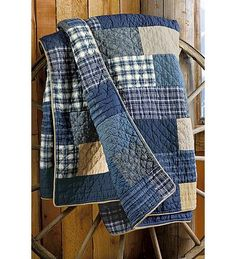 Weathered Blues Quilt--repurposed denim and flannel-