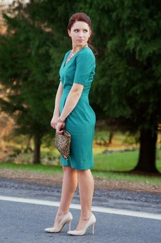Happy Medley: Festive green dress, nude pumps, sequin clutch, holiday outfit, Christmas,