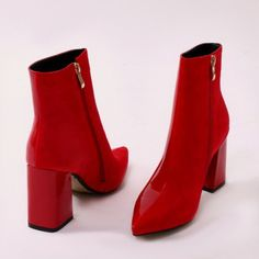 Chaos Contrast Pointed Toe Ankle Boots in Yellow Patent and Faux Suede Red Ankle Boots, Red Boots, Shoe Boots, Shoes Sandals, Walk This Way, Toe Shape, Fashion Boots, Peep Toe, High Heels