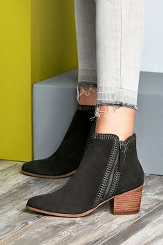 Dark grey suede ankle bootie with contrast stitching and a diagonal side zipper | Sole Society Corinna