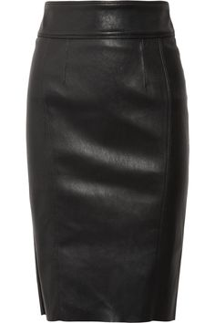 Burberry Stretch-leather Pencil Skirt in Black   Lyst