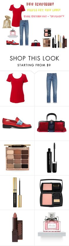 """For Judith (brothers mum-in-law) - Judith's ideal wardrobe by me: 30s inspired!"" by sarah-m-smith ❤ liked on Polyvore featuring Levi's, MR by Man Repeller, Roberta Di Camerino, Stila, Marc Jacobs, Lancôme, Burt's Bees and Parlane"