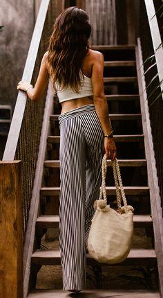 Black and white striped wide leg pants