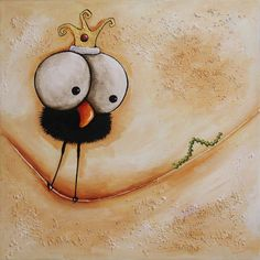 Original acrylic canvas painting whimsical bird folk art crow caterpillar 12x12 #IllustrationArt