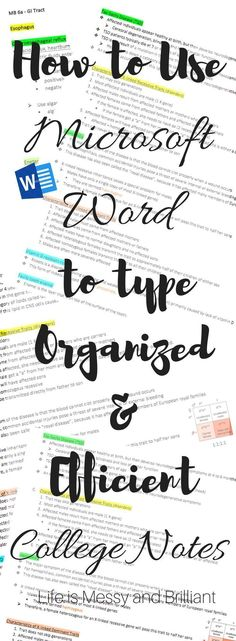 Great Post on How to Use Microsoft Word to Type Organized and Efficient College Notes! This is definitely a must-read for any college student, or for anyone who needs to take efficient notes now and then!