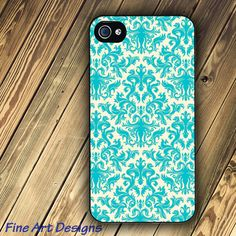 iphone 4 case or Iphone 4s case with Turquoise and Cream Damask image on Etsy, $16.95