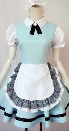 Alice in Wonderland sweet princess cosplay costume cute Maid sky blue sexy comfortable lolita dress for women girls Maid Outfit, Maid Dress, Sexy Dresses, Blue Dresses, Short Sleeve Dresses, Harajuku Fashion, Kawaii Fashion, Lolita Fashion, Princess Aprons