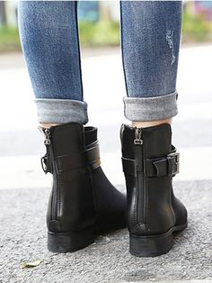 Black Buckle Ankle Boots | Choies