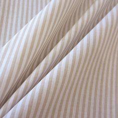 Stoff Meterware Baumwollstoff Streifen gestreift beige weiß 4 mm durchgewebt Curtains, Home Decor, Taupe, Cotton Fabric, Stripes, Cotton, Room Decor, Draping, Home Interior Design