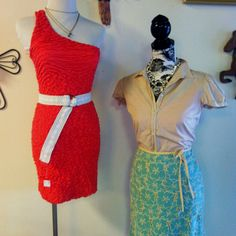 Come get a fresh summer look that will make you forget the heat!  Left: Small dress $16, belt $5, necklace $9 Right: Large cami $4, Size 4 button down $8, Size 6 skirt $21, necklace $7