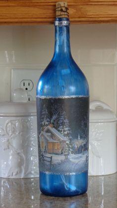 1.5 Lt  Wine Bottle Lamp Blue Frosted Bottle, Pretty Winter House Scene #7 #StoneCellars