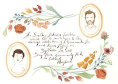 Kelsey Garrity-Riley Illustration, wedding invitation