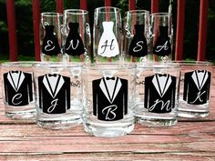 Black and White Tux + Dresses Wedding Party Glassware || Toasting Flute & Rocks Glasses Set of 10 by Crimson Graphic on Etsy