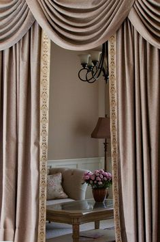 Celuce. Shimmering Espresso swag valance curtain set  Indulge yourself with this fabulous espresso colored valance curtains, where twinkling light bounces off the smooth fabric, luxurious yet subtle. Embroidery trims along the inner side of curtain panels shape the curves elegantly, echoing the wavy double-layered gold cascade tails.  curtain, curtains, drapes, draperies, window treatment,fabric, swag, swag valance, valances, victorian, baroque