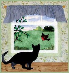 This cat is trying to catch the attention of a robin for a little, ahem, play time. Wall hanging finishes at 24 X 26 Small Quilts, Mini Quilts, Cat Quilt Patterns, Loom Patterns, Applique Wall Hanging, Animal Quilts, Landscape Quilts, Cat Pattern, Pattern Fabric