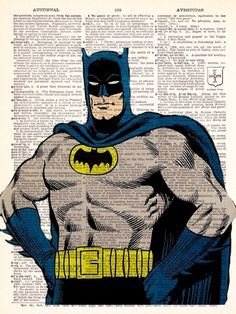 Buy 2 Get 1 FREE -Retro Vintage Batman 1 Dictionary Print Vintage Book Print Page Art Upcycled Vintage Book Art. $8.98, via Etsy.
