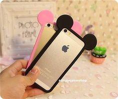 Lindo Nuevo Marco de oreja de Mickey Mouse Estuche Paragolpes de silicona suave para iPhone 6 6S Plus 5S