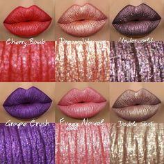 TOMORROW!  Official #swatches and collage by Moi ✨@gerardcosmetics Metal Matte #LiquidLipstick in shades: ▫Grape Crush ▫Fuzzy Navel ▫Cherry Bomb ▫Underworld ▫Double Shot ▫Dream Weaver  Will be available ➡️ November 14th  on their website *use code: ▶AMAZING◀  for 30% off  What are you planning to pick up? ❣