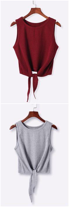 Sleeveless Self-tie Crop Top