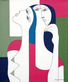 "Saatchi Art Artist Hildegarde Handsaeme; Painting, ""Women with the yellow nail"" #art"