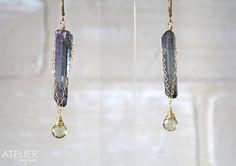 Goldfilled earrings, rough point quartz, olive quartz. www.facebook.com/ateliergabymarcos