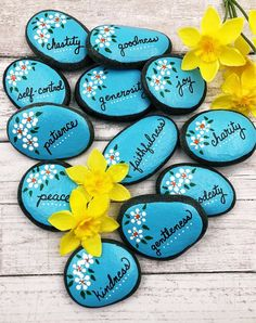 Fruit of the Spirit Story Stones, 12 Christian Scripture Painted Rocks, Galatians Holy Spirit Attributes, Bible Verse, Sunday School Gift Pebble Painting, Dot Painting, Pebble Art, Stone Painting, Rock Painting Ideas Easy, Rock Painting Designs, Stone Crafts, Rock Crafts, Crafts With Rocks