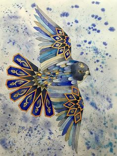 Feather Harmony Original Watercolor Painting (Geometrical Art, Sacred Geometry), Home Decoration, Luxury gift. – All about wall art Islamic Art Pattern, Pattern Art, Motifs Islamiques, Art Arabe, Arte Judaica, Image Deco, Arabic Art, Turkish Art, Geometric Wall Art