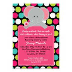 Pink Elephant Polkadot Baby Shower Invitation