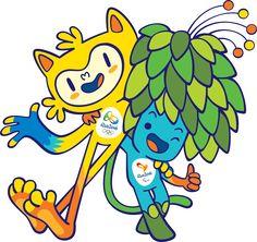 Os mascotes dos Jogos Rio 2016: Vinicius (olímpico a esquerda) e Tom (paralímpico a direita)
