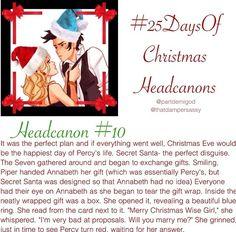 Percy Jackson head canon Christmas annabeth percabeth
